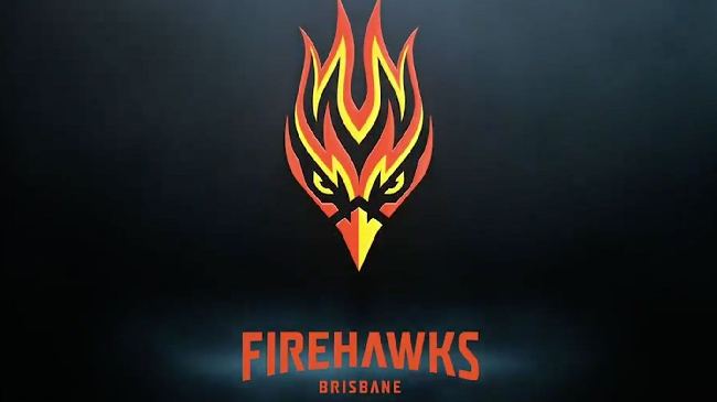 Brisbane Firehawks logo on black background