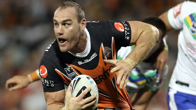 Gareth Ellis playing for the Wests Tigers