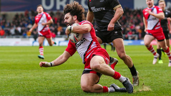 Rhys Williams playing for Salford
