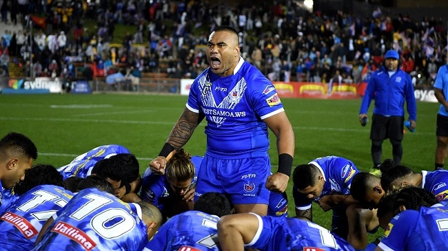 Samoa rugby league performing the Siva Tau War Cry